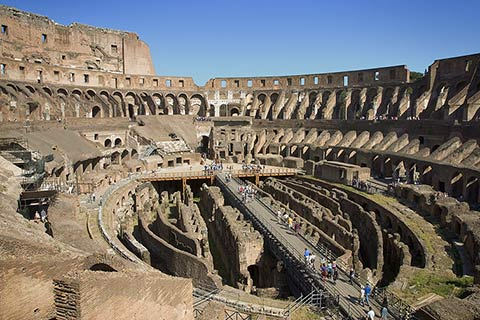 photograph depicts the Colosseum, the gathering place of ancient Rome